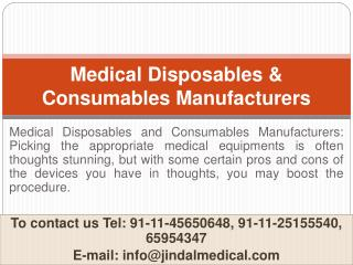 Medical Disposables and Consumables Manufacturers