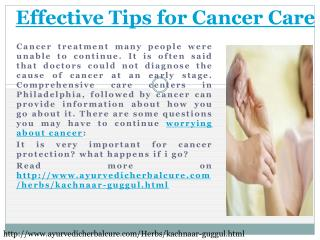 Effective Tips for Cancer Care