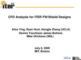 CFD Analysis for ITER FW/Shield Designs