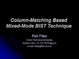 Column-Matching Based Mixed‑Mode BIST Technique