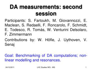 DA measurements: second session