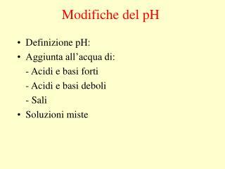 Modifiche del pH