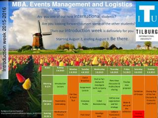 MBA. Events Management and Logistics
