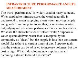 INFRASTRUCTURE PERFORMANCE AND ITS MEASUREMENT