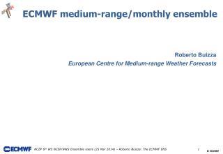 Roberto Buizza European Centre for Medium-range Weather Forecasts