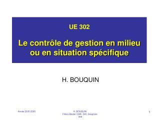 UE 302  Le contr le de gestion en milieu ou en situation sp cifique