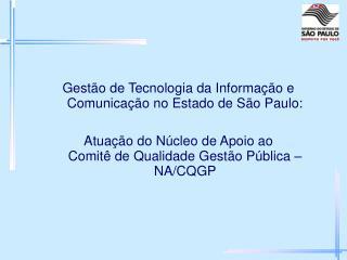 Gestão de Tecnologia da Informação e Comunicação no Estado de São Paulo: