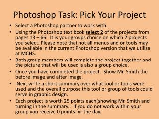 Photoshop Task: Pick Your Project