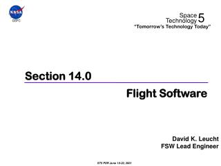 Section 14.0 Flight Software