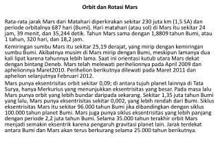 Orbit dan Rotasi Mars