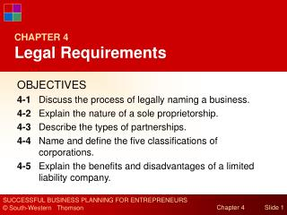 CHAPTER 4 Legal Requirements