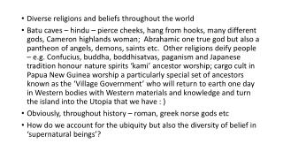 Diverse religions and beliefs throughout the world