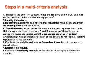 Steps in a multi-criteria analysis