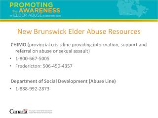 New Brunswick Elder Abuse Resources