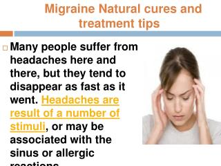 Migraine Natural cures and treatment tips