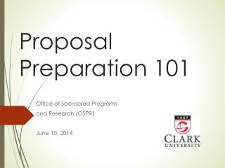 Proposal Preparation 101