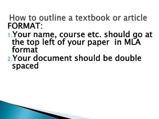 How to outline a textbook or article