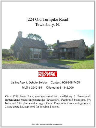 224 Old Turnpike Road  Tewksbury, NJ