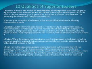 10 Qualities of Superior Leaders