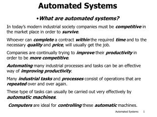 Automated Systems
