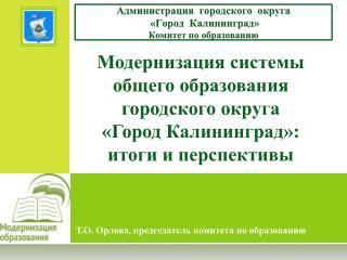 Т.О. Орлова, председатель комитета по образованию