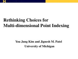 Rethinking Choices for  Multi-dimensional Point Indexing
