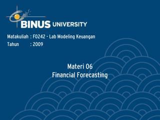 Materi 06 Financial Forecasting