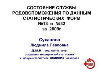 СОСТОЯНИЕ СЛУЖБЫ РОДОВСПОМОЖЕНИЯ ПО ДАННЫМ СТАТИСТИЧЕСКИХ  ФОРМ  №13  и  №32   за  2009г