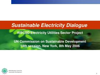WBCSD Electricity Utilities Sector Project UN Commission on Sustainable Development