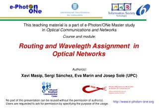 Routing and Wavelegth Assignment  in Optical Networks