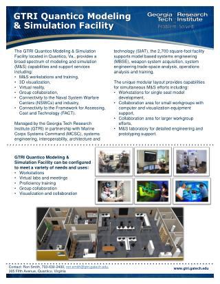 GTRI Quantico Modeling  & Simulation Facility