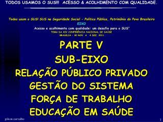 Todos usam o SUS! SUS na Seguridade Social - Política Pública, Patrimônio do Povo Brasileiro  EIXO