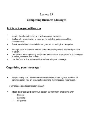 Lecture 13 Composing Business Messages