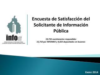 Encuesta de Satisfacción del Solicitante de Información Pública 19,733 cuestionarios respondidos