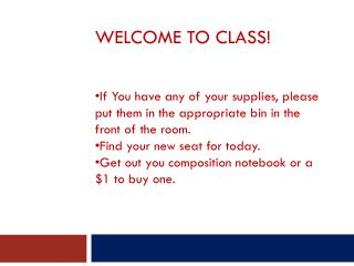 Welcome to Class!