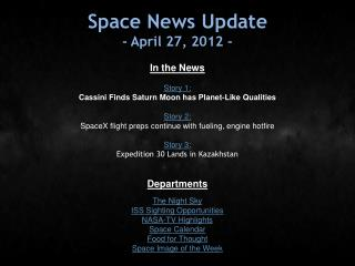 Space News Update - April 27, 2012 -