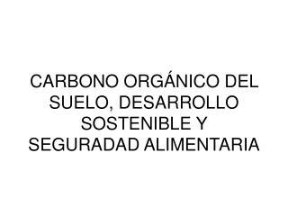 CARBONO ORGÁNICO DEL SUELO, DESARROLLO SOSTENIBLE Y SEGURADAD ALIMENTARIA