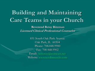 Building and Maintaining Care Teams in your Church