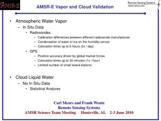 AMSR-E Vapor and Cloud Validation