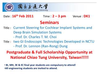 Postgraduate  Full Scholarship Opportunity at National Chiao Tung University, Taiwan