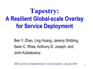 Tapestry: A Resilient Global-scale Overlay for Service Deployment