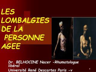 LES LOMBALGIES DE LA  PERSONNE AGEE