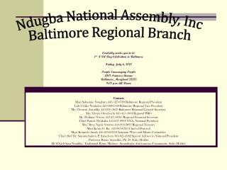 Ndugba National Assembly, Inc Baltimore Regional Branch