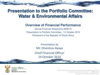 Overview of Financial Performance Annual Financial Statements 2009/10