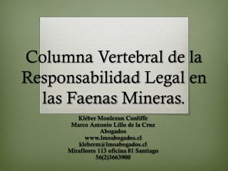 Columna  Vertebral de la  R esponsabilidad  Legal en  las Faenas Mineras .