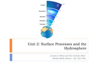 Unit 2: Surface Processes and the Hydrosphere