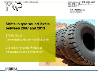 Shifts in tyre sound levels  between 2007 and 2013
