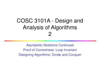 COSC 3101A - Design and Analysis of Algorithms 2