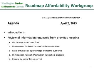 Roadmap Affordability Workgroup
