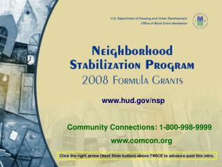 hud/nsp         Community Connections: 1-800-998-9999           comcon